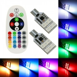 PACK DE 2 BOMBILLAS T10 W5W DE CUÑA 12 LED RGB COLOR AJUSTABLE CON MANDO