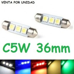 BOMBILLA LED INTERIOR MATRICULA GUANTERA FESTOON C5W 36MM