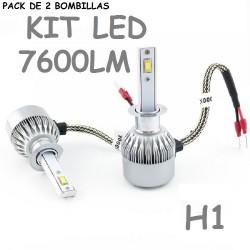 KIT BOMBILLA H1 LUZ LED 7600 LUMENES 12V / 24V COCHE MOTO FURGONETA CAMION