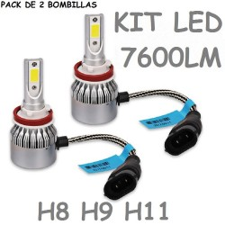 KIT BOMBILLA H8 H9 H11 LED 7600 LUMENES 12V 24V COCHE FURGONETA CAMION