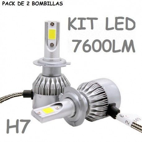 KIT BOMBILLA H7 LUZ LED 7600 LUMENES 12V / 24V COCHE MOTO FURGONETA CAMION