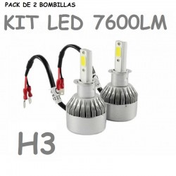 KIT BOMBILLA H3 LED 7600 LUMENES 12V 24V COCHE MOTO FURGONETA CAMION