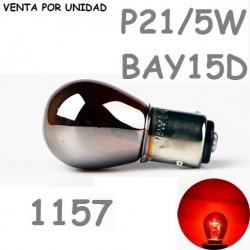 BOMBILLA P21/5W S25 BAY15d 1157 21/5W HALOGENA ROJA PLATA CROMADA