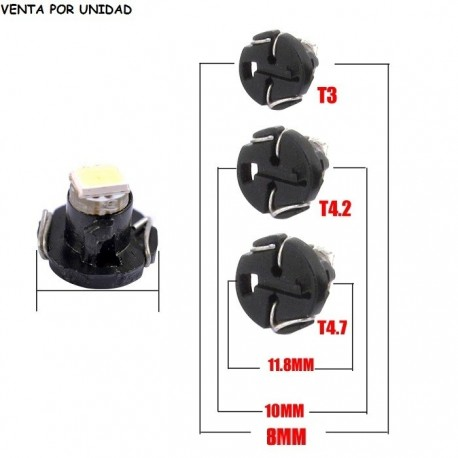 T3 T4.2 T4.7 LED BOMBILLA MARCADOR TACOMETRO COCHE