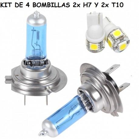 PACK 2X BOMBILLAS H7 HALOGENA 6000K 55W + 2 BOMBILLA POSICION LED T10 W5W