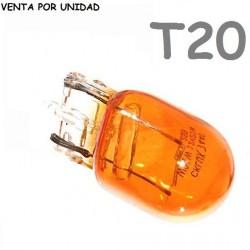 BOMBILLA T20 HALOGENA DE FILAMENTO COCHE 582 7440 W21W AMBAR