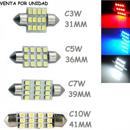 BOMBILLA LED INTERIOR MALETERO GUANTERA FESTOON C3W 31MM