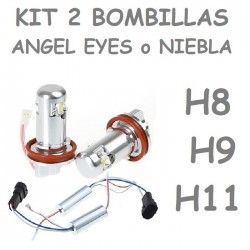 KIT BOMBILLAS LED ANGEL EYES O ANTINIEBLA H8 H9 H11 900 LUMENES COCHE