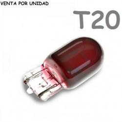 Bombilla T20 Halógena de Filamento Coche 582 7440 W21W Rojo