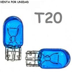 Bombilla T20 Halógena de Filamento Coche 582 7440 W21W Azul 8500K