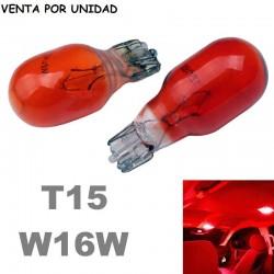 Bombilla T15 W16W Halógena Roja de Cuña Coche Moto 12V