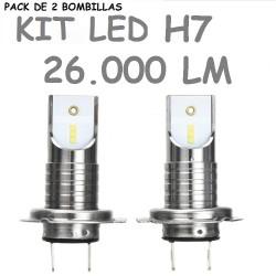 Kit Bombilla H7 Led 26000 Lúmenes 12V 24V Sin Ventilador Coche Camión