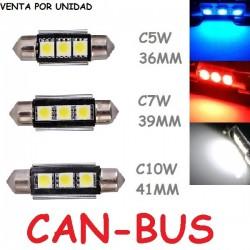 Bombilla Led C5W C7W C10W Libre de error CANBUS Luz Matrícula Coche