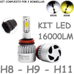 Kit de Led Universal H8 H9 H11 16000LUM 12V y 24V Carretera