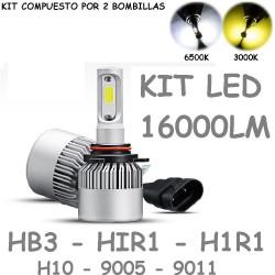 Kit Bombilla HB3 HIR1 H1R1 H10 9005 9011 Luz Led 16000 Lúmenes 12-24V