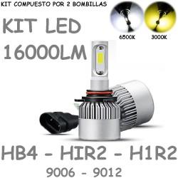 Kit Bombilla HB4 HIR2 H1R2 9006 9012 Luz Led 16000 Lúmenes 12-24V Coche