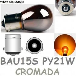 Bombilla PY21W S25 BAU15S 581 12V21W Halogena Naranja Plata Cromada