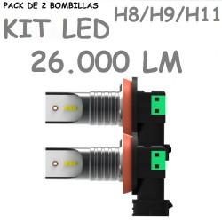 Kit Bombilla H11 H8 H9 Led 26000 Lúmenes 12V 24V Sin Ventilador Coche