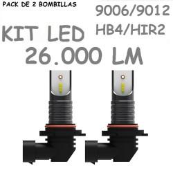 Kit Bombilla HB4 HIR2 9006 9012 Led 26000 Lúmenes Sin Ventilador Coche