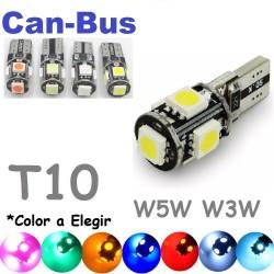 Bombilla Led T10 W5W W3W Canbus Luz de posición No error Coche 5 Leds