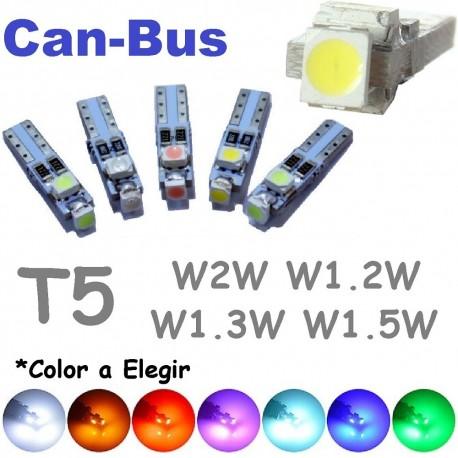 Bombilla Led T5 W1.2W W2.3W Canbus Luz Cuadro No error Coche 3 Leds