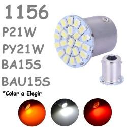 S25 1156 BA15S P21W - 1156PY/B BAU15S PY21W 22 LED Bombilla Coche Moto