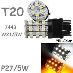 T20 W21/5W 60 LED Bombilla Blanco y Naranja Coche 7443 7443NA