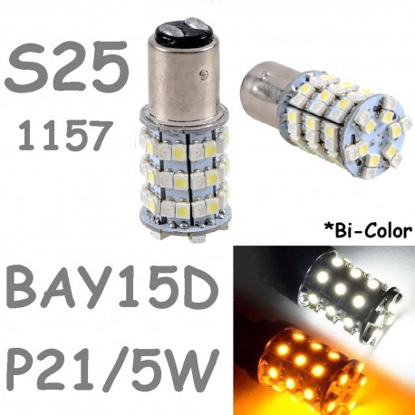 BAY15D 1157 - P21/5W S25 60 LED Bombilla Blanco y Naranja Coche