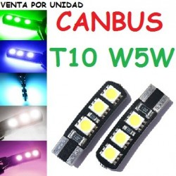 BOMBILLA LED POSICION INTERIOR MATRICULA MARCADOR CANBUS T10 W5W DE CUÑA