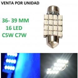 BOMBILLA LED PLAFON PLAFONIER TECHO INTERIORES MATRICULA C5W 16 LED
